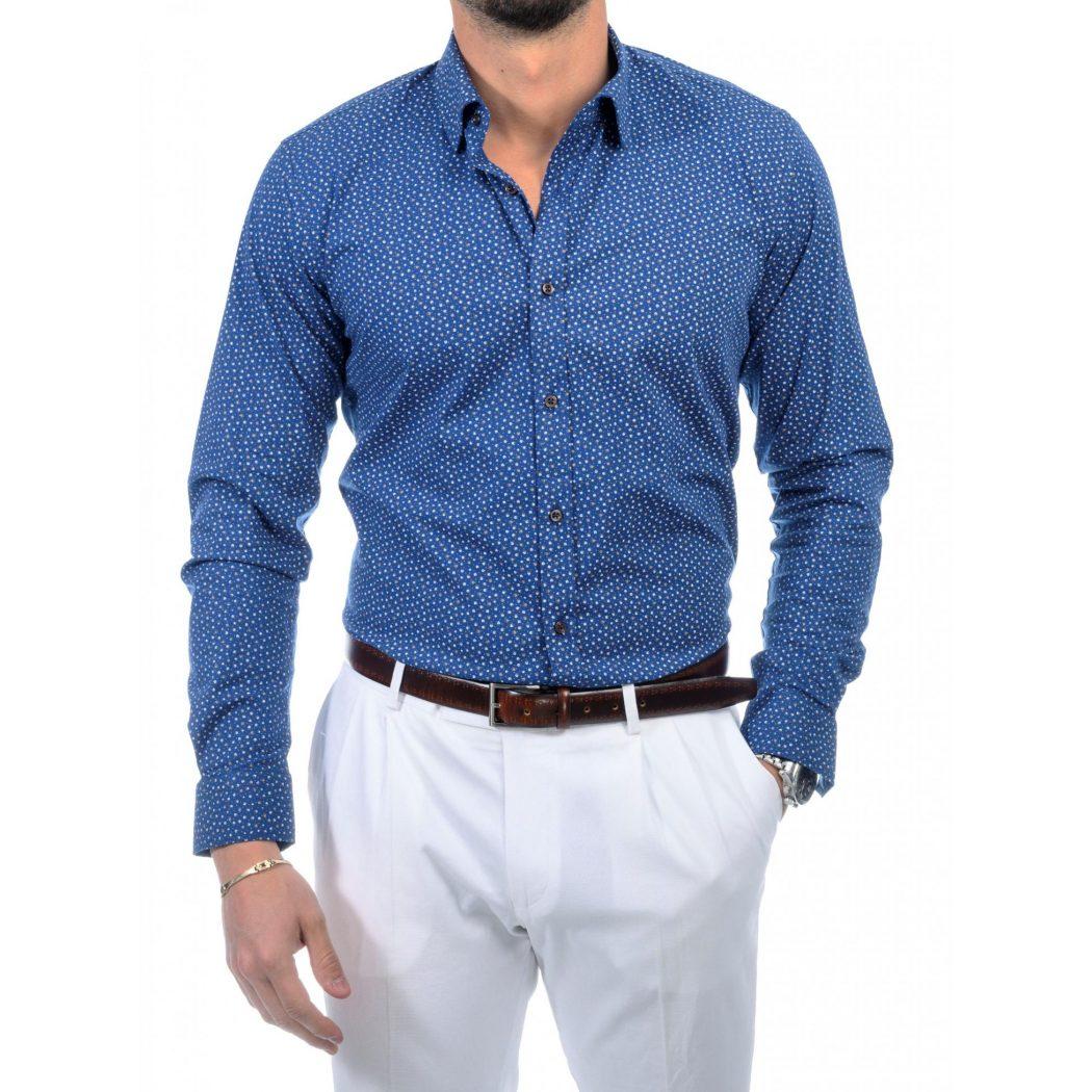 πουκαμισο με καμελ μικροσχεδιο D 2159 5369